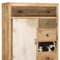 Hochkommode Vintage Altholz mit 6 Schubladen und Tür