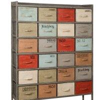 Kommode mit 24 Schubladen Metall mehrfarbig