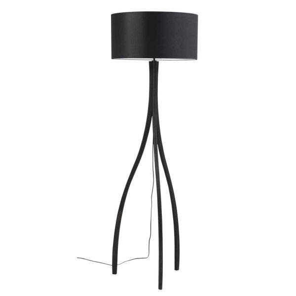 Stehlampe Eifel mit Holzfuß in schwarz