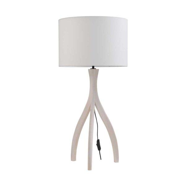 Tischlampe Eifel mit Holzfuß in weiss