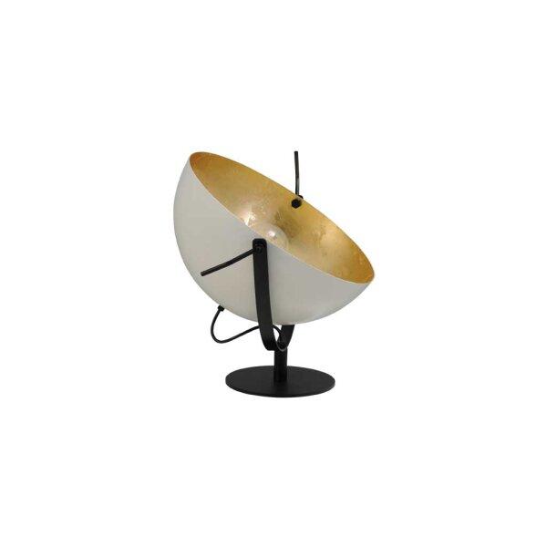 Larino Tischlampe XL Schirm weiss innen Blattgold