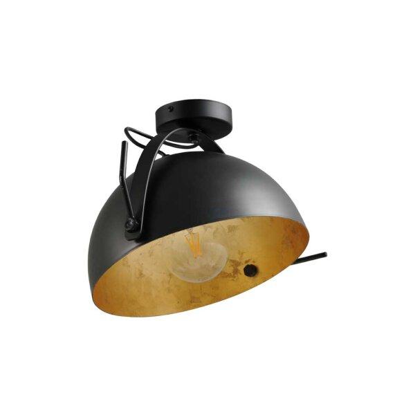 Larino Deckenlampe XL Schirm gunmetal innen Blattgold