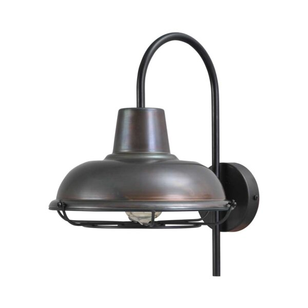 Wandlampe Eddy gunmetal mit Metallgitter
