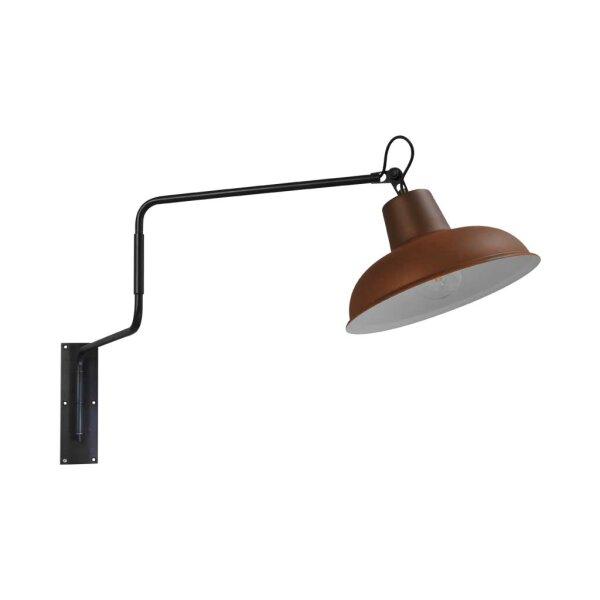 Wandlampe Eddy gunmetal / Rost  mit schwenkbarem Arm