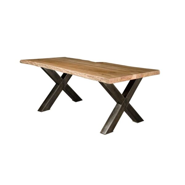 Baumstamm Esstisch Yukon Akazie Top 4 cm  X-Beine