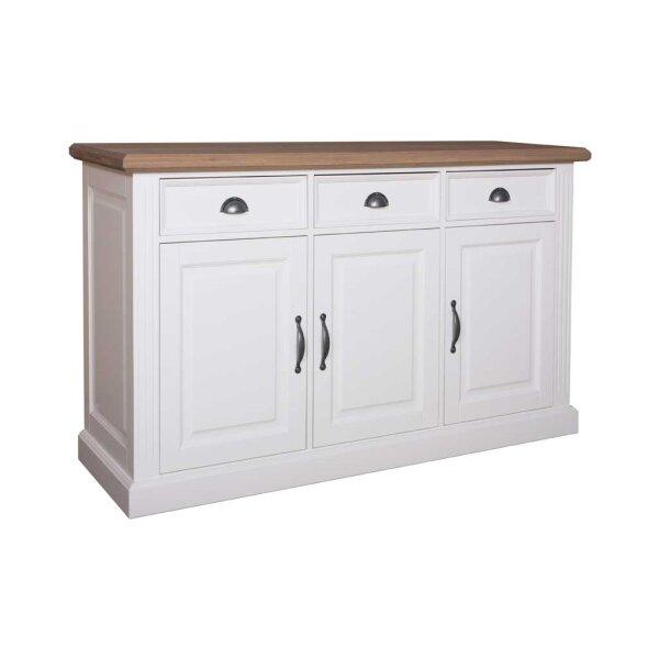 Sideboard White & Oak 159 cm 3 Schubladen