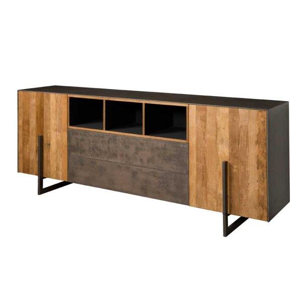 Sideboard Ora Teakholz Kupferlook & Metall 222 cm
