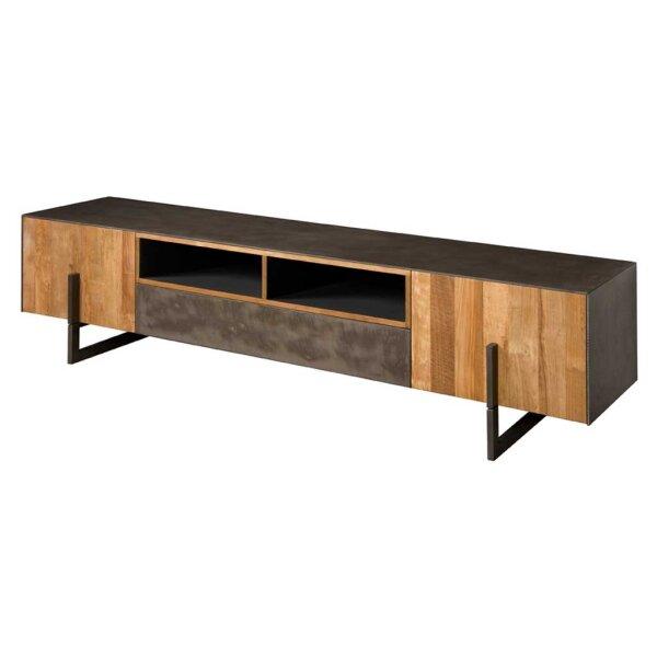 TV Board Ora Teakholz Kupferlook & Metall 222 cm
