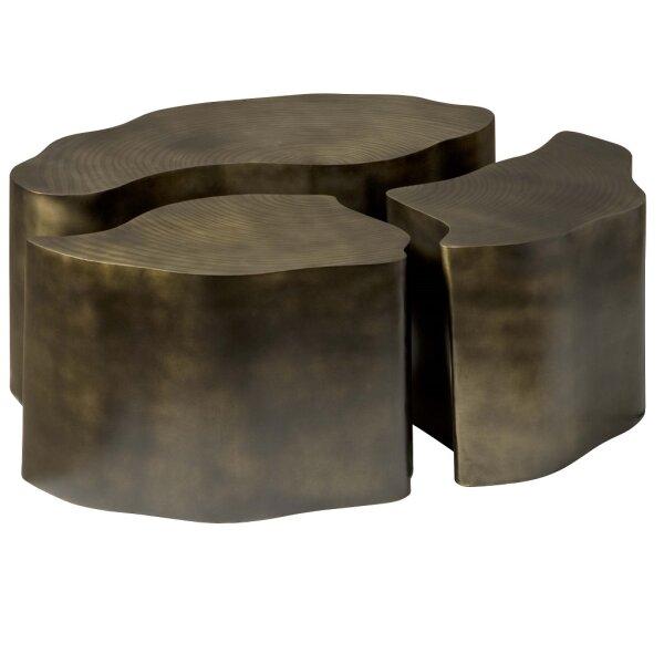 Couchtisch 3er Messing Antik Baumstamm oval