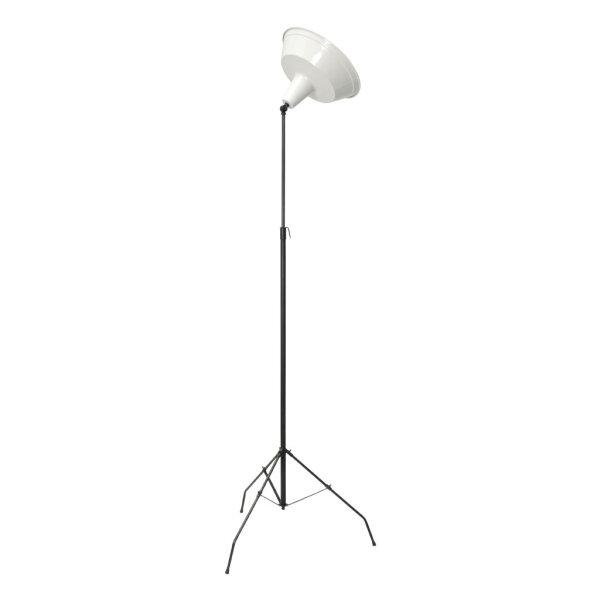 Stehlampe Bianco mit 3 Füssen und weißem Schirm