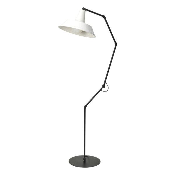 Stehlampe Bianco verstellbar mit weißem Schirm
