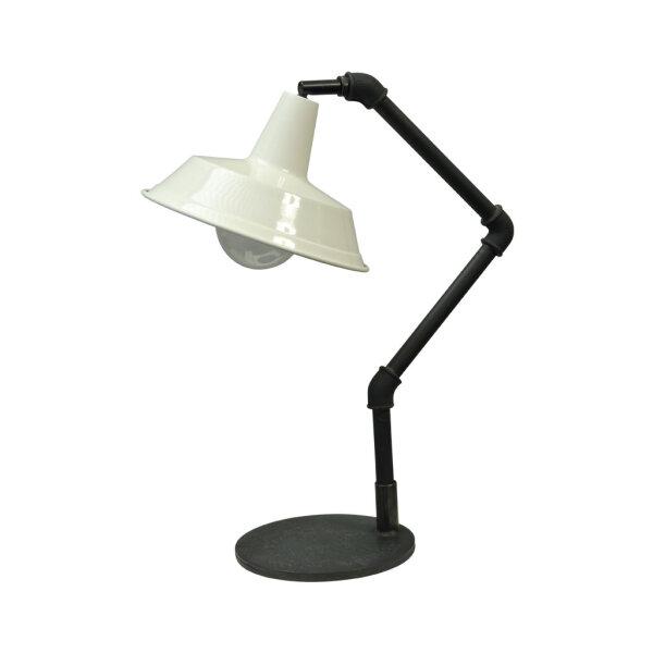 Steh- und Tischlampe Bianco dunkelsilber mit weißem Schirm
