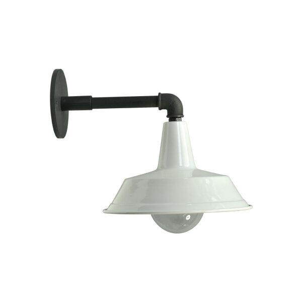 Wandlampe Bianco dunkelsilber mit weißem Schirm