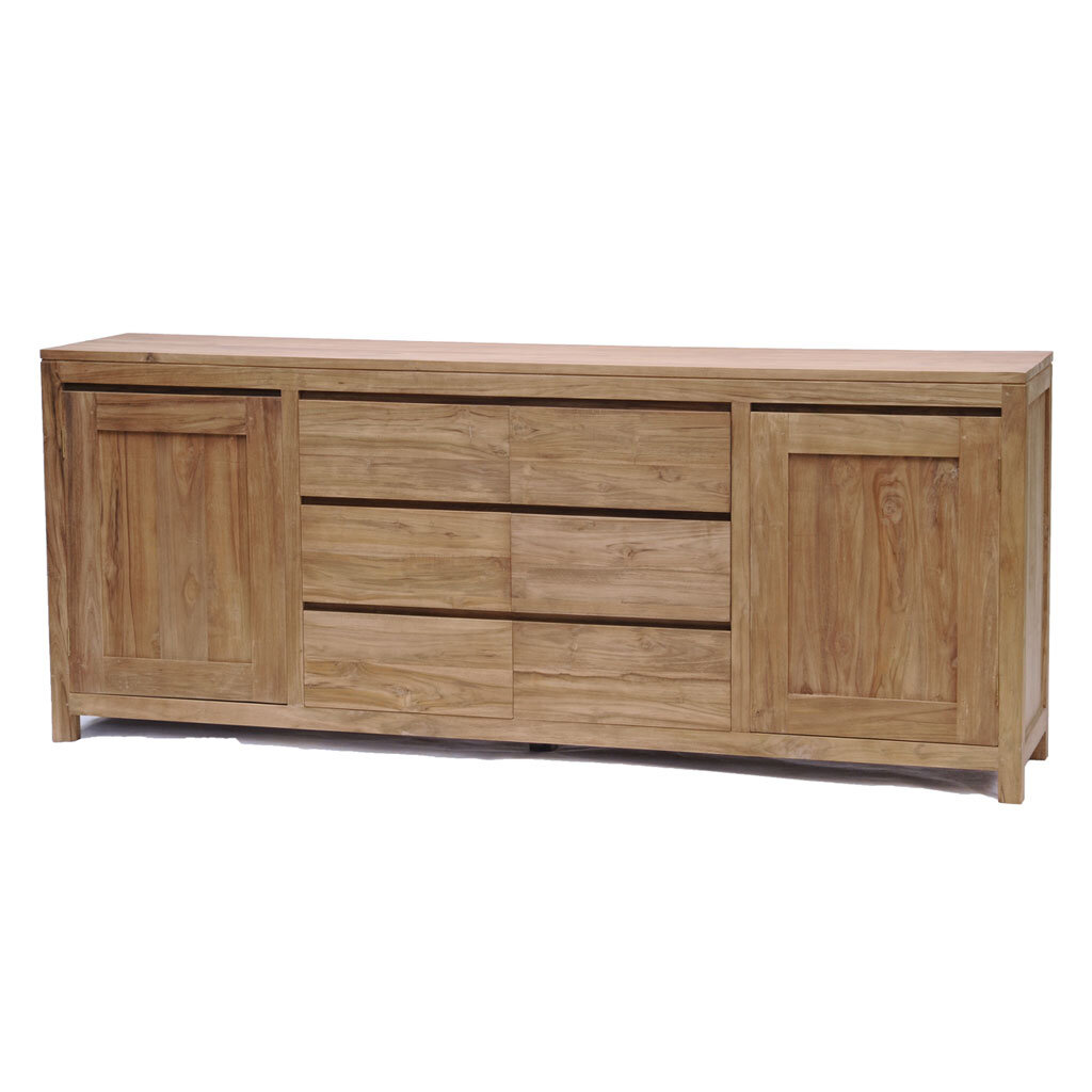 sideboard coronas teak 220 cm restyle24. Black Bedroom Furniture Sets. Home Design Ideas