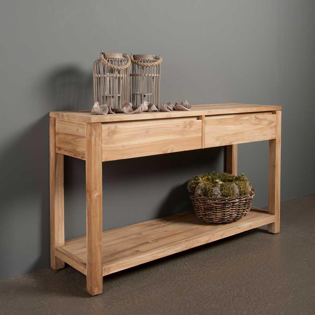 teakholz konsolentisch coronas mit 2 schubladen restyle24. Black Bedroom Furniture Sets. Home Design Ideas