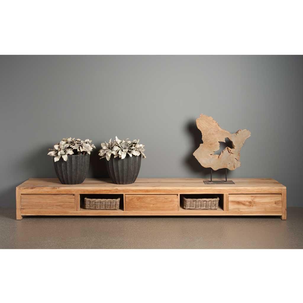 tv sideboard coronas aus teakholz 300 cm restyle24. Black Bedroom Furniture Sets. Home Design Ideas