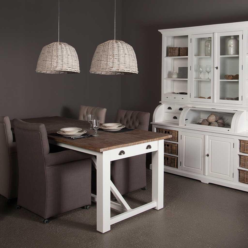 tisch wei teak napolia restyle24. Black Bedroom Furniture Sets. Home Design Ideas