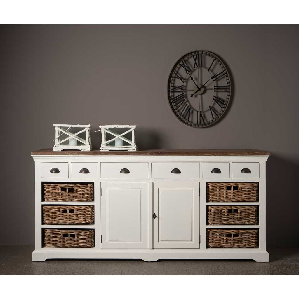 sideboard wei teak napolia 195 cm restyle24. Black Bedroom Furniture Sets. Home Design Ideas
