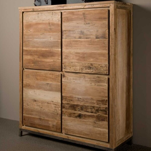 massiver schrank venedig aus teakholz 130 cm restyle24. Black Bedroom Furniture Sets. Home Design Ideas