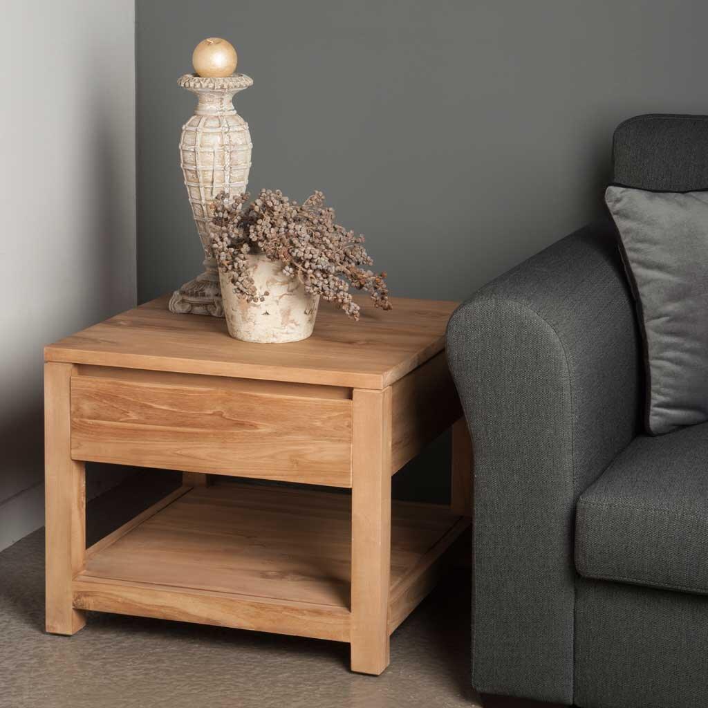 teakholz beistelltisch coronas mit schublade restyle24. Black Bedroom Furniture Sets. Home Design Ideas