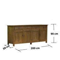 Teak Sideboard Dorado 4 Türen 200 cm