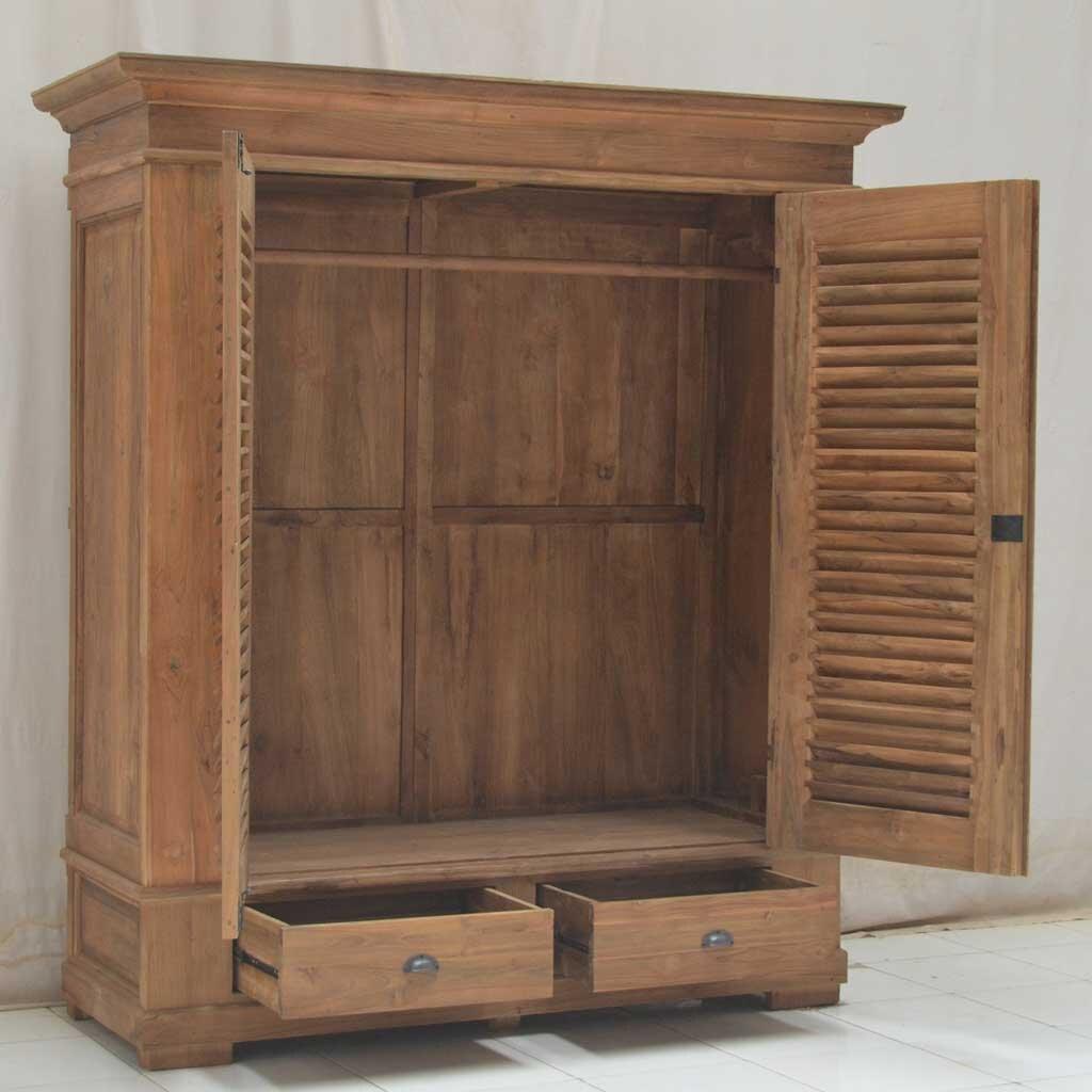 teak kleiderschrank louvre restyle24. Black Bedroom Furniture Sets. Home Design Ideas