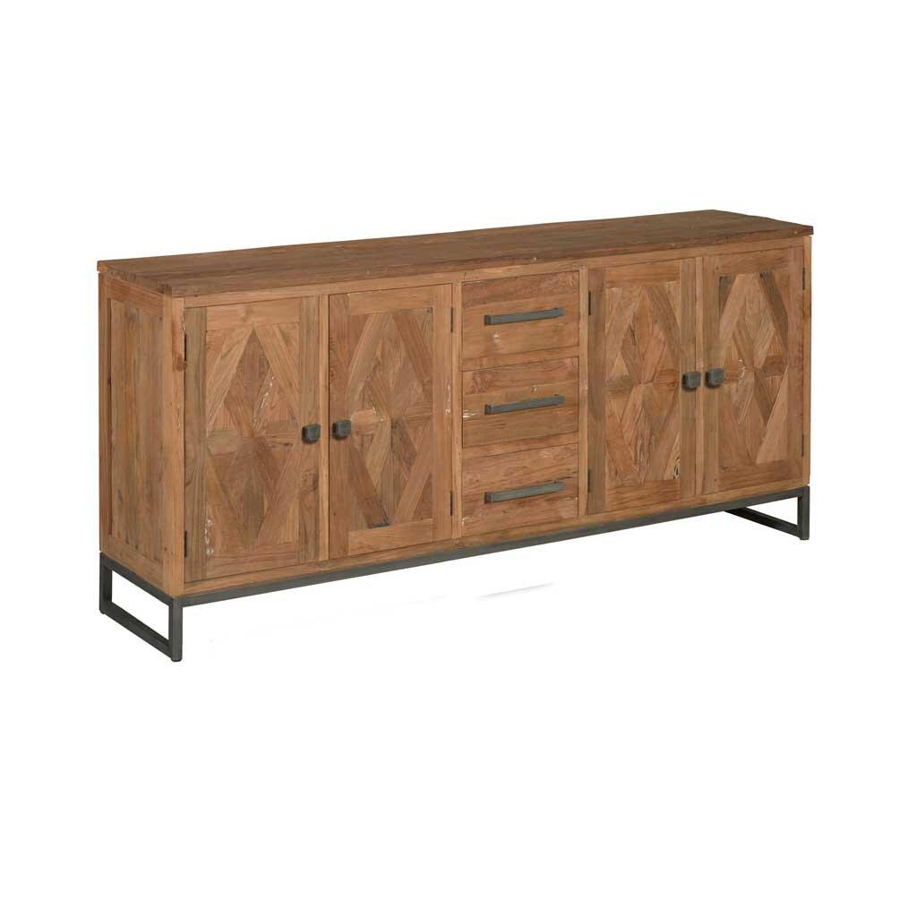 teak tv board mosaik 180 cm restyle24. Black Bedroom Furniture Sets. Home Design Ideas
