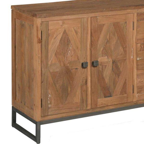 teak sideboard mosaik 200 cm restyle24. Black Bedroom Furniture Sets. Home Design Ideas
