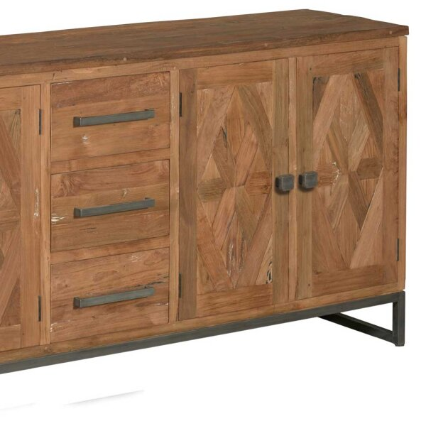 teak sideboard mosaik 200 cm restyle24. Black Bedroom Furniture Sets. Home Design Ideas