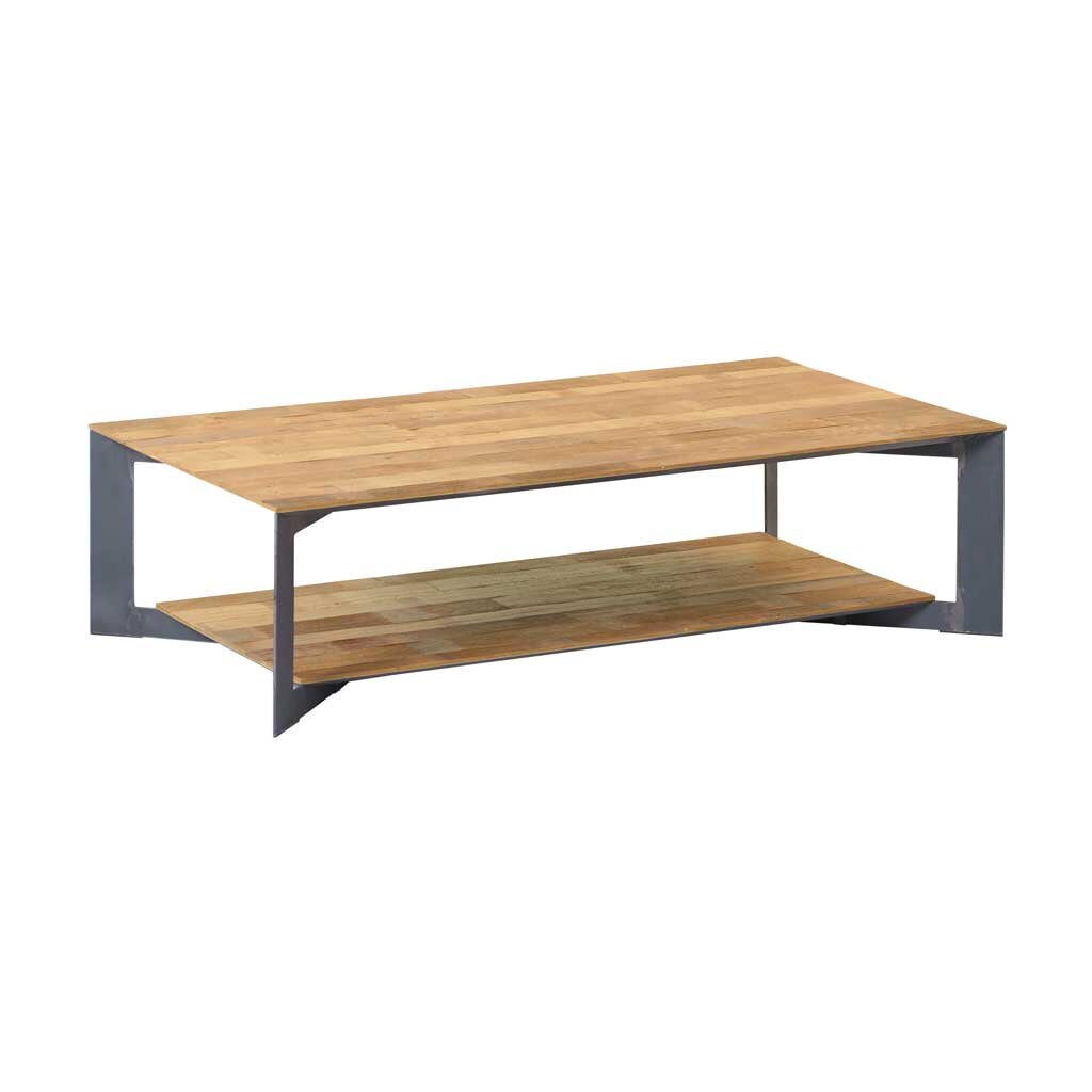 teak couchtisch pandora mit metallgestell restyle24. Black Bedroom Furniture Sets. Home Design Ideas